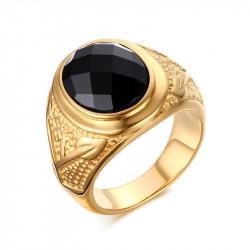 BA0113 BOBIJOO Jewelry Anello Agata Nera, Decorazioni in Oro Ramo