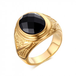 BA0113 BOBIJOO Jewelry Signet ring Black Agate, Gold Decor Branch