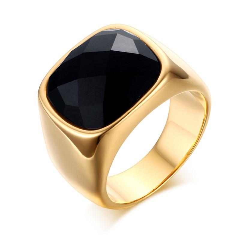 BA0115 BOBIJOO Jewelry Chevalière Agate Rectangulaire Noire Doré à l'Or Fin