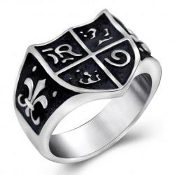 BA0118 BOBIJOO Jewelry Chevalière Bague Jeanne d'Arc Royalisme Lys Templier