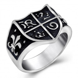 BA0118 BOBIJOO Jewelry Siegelring Ring Jeanne d ' Arc Royalisme Lilie Templer