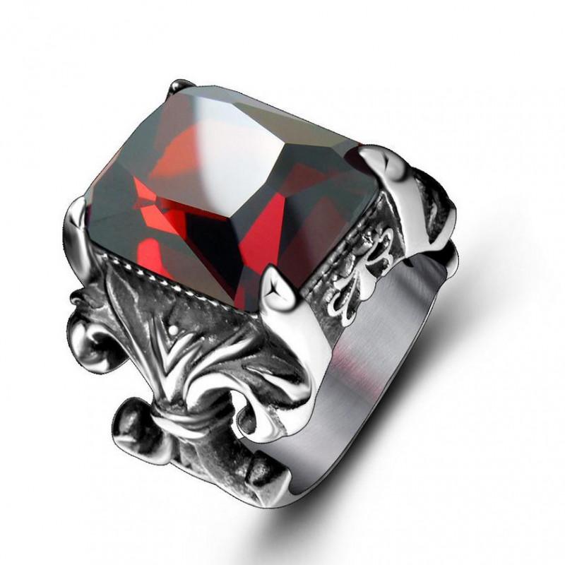 BA0119 BOBIJOO Jewelry Grosse Chevalière Pierre Rouge Roi Fleur de Lys