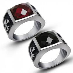 BA0120 BOBIJOO Jewelry Chevalière Bague Croix des Templiers Rouge ou Noir