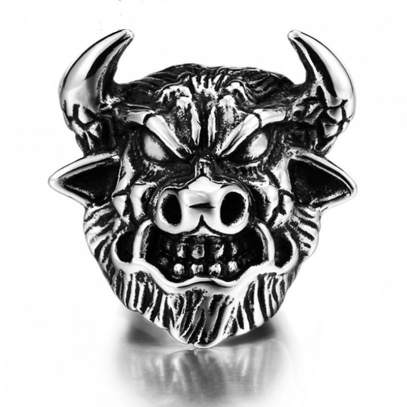 BA0121 BOBIJOO Jewelry Chevalière Gitan Forain Camargue Taureau Acier