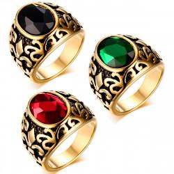 BA0123 BOBIJOO Jewelry Sortija de sello Dorado acabado en Oro de Fleur-de-Lys de Elección