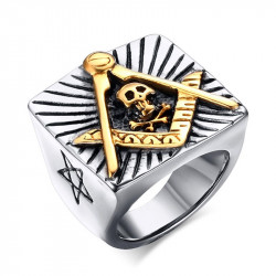 BA0124 BOBIJOO Jewelry Signet Ring Free Mason Star Flaming Skull