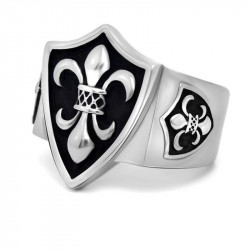 BA0126 BOBIJOO Jewelry El Anillo de sellar de Fleur-de-Lys Escudo de armas de la Plata