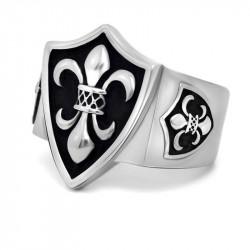 BA0126 BOBIJOO Jewelry Siegelring Ring Lilie Wappen Silber
