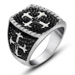 BA0127 BOBIJOO Jewelry Anello Uomo in Acciaio Nero Croce di Gigli