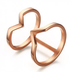 BAF0023 BOBIJOO Jewelry Golden Double Ring Ring in Rose Gold