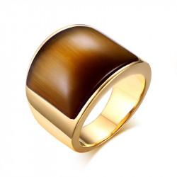 BAF0024 BOBIJOO Jewelry Anillo cabujón marrón dorado en acabado dorado