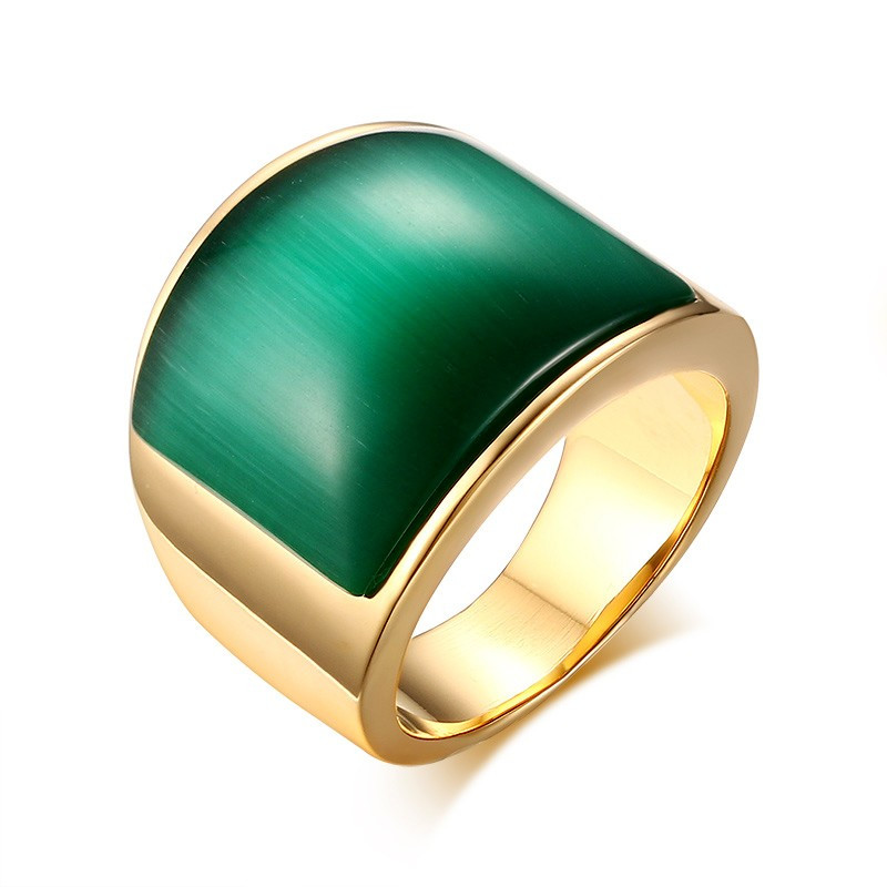 BAF0025 BOBIJOO Jewelry Bague Cabochon Pierre Verte Doré à l'Or Fin