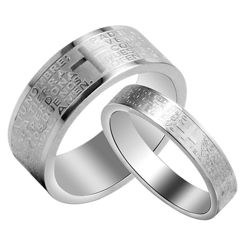 AL0047 BOBIJOO Jewelry Alliance Bague Argenté Jesus Croix Bible Prière Couple