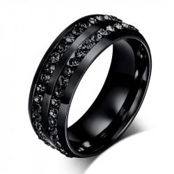 AL0048 BOBIJOO Jewelry Alianza Anillo Negro De Doble Diamante De Imitación De Acero Inoxidable