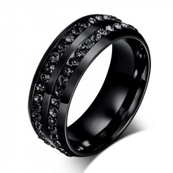 AL0048 BOBIJOO Jewelry Alliance Ring Black Double Rhinestone Stainless Steel