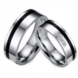 AL0053 BOBIJOO Jewelry Alianza De Plata-Tono Negro Rhinestone Sobrio Clásico
