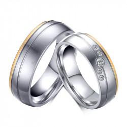 AL0054 BOBIJOO Jewelry Alianza Discreto De Acero Dorado De Oro Final De Plata Diamantes De Imitación