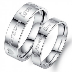 AL0055 BOBIJOO Jewelry Anillo Alianza De Plata Chapado Para Siempre El Amor De Acero Inoxidable