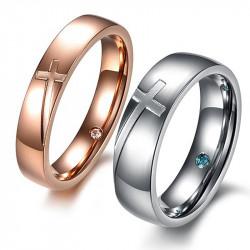 AL0058 BOBIJOO Jewelry Alianza En Oro Rosa De La Cruz De Plata De Acero Inoxidable Rhinestone