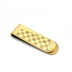 Pince à billet Acier Inoxydable Ton Or Damier en relief gravé recto/verso Elegance Cadeau Accessoire Homme