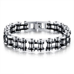 BR0098 BOBIJOO Jewelry Bracelet Chain bike Steel Silver Black