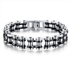 BR0098 BOBIJOO Jewelry Bracelet Chaine de moto Acier Argenté Noir