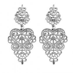 BOF0062 BOBIJOO JEWELRY Vintage earrings-Ethnic Dangling Silver