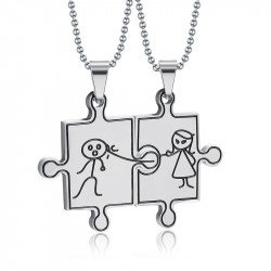 PE0030 BOBIJOO Jewelry Collare Doppio Ciondolo Coppia Argento Puzzle Umorismo