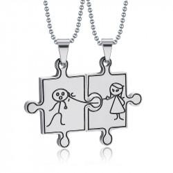 Double Collier Pendentif Couple Argenté Puzzle Humour bobijoo