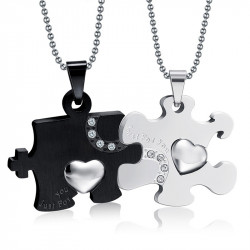 PE0031 BOBIJOO Jewelry Double Collier Pendentif Couple Just For You Noir Strass