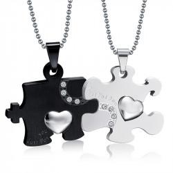 PE0031 BOBIJOO Jewelry Doppelte Halskette Anhänger Paar Just For You Schwarz Strass