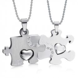 PE0032 BOBIJOO Jewelry Double Collier Pendentif Couple Puzzle Argenté Acier