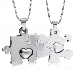 PE0032 BOBIJOO Jewelry Double Collar Pendant Necklace Couple Puzzle Silver Steel
