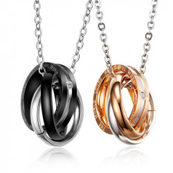 PE0033 BOBIJOO Jewelry Double Collier Pendentif Couple Alliance Anneaux Strass