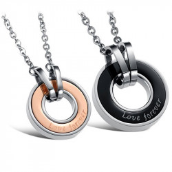 PE0036 BOBIJOO Jewelry Double Collier Pendentif Couple Forever Love Médaillon