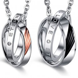 PE0042 BOBIJOO Jewelry Double Necklace Pendant Couple Eternal Love Rhinestone