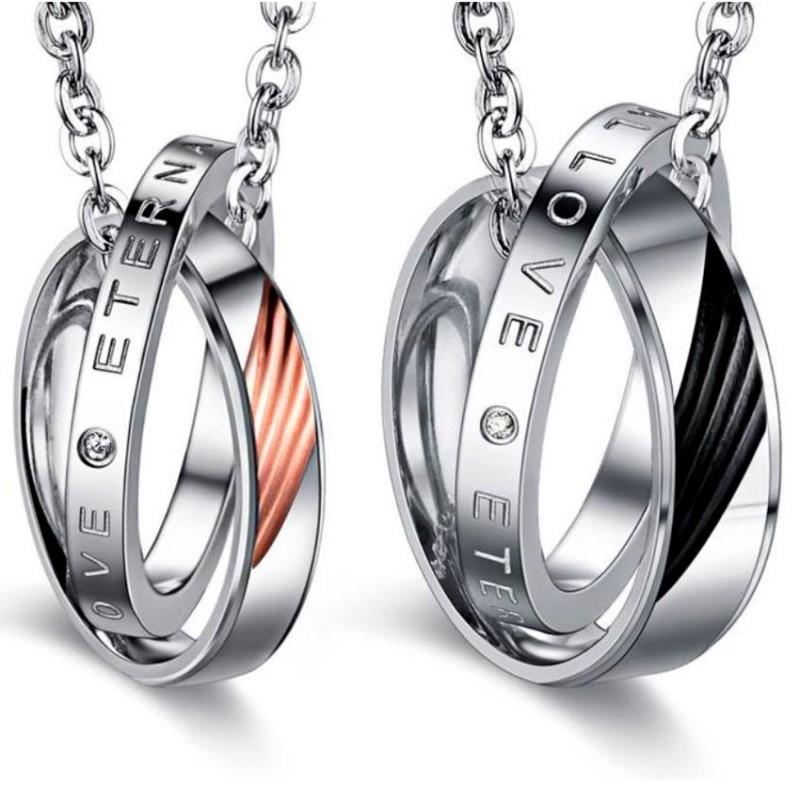 PE0042 BOBIJOO Jewelry Double Collier Pendentif Couple Eternal Love Strass