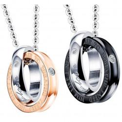 PE0043 BOBIJOO Jewelry Doppelte Halskette Anhänger Paar My Only Love Strass
