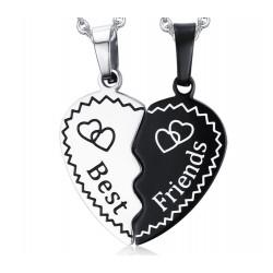 PE0046 BOBIJOO Jewelry Doble Collar Colgante De Corazón Mejores Amigos