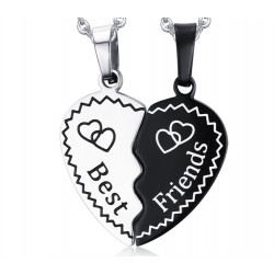PE0046 BOBIJOO Jewelry Double Necklace Pendant Heart Best Friends