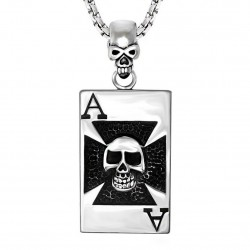PE0034 BOBIJOO Jewelry Ciondolo croce di cavaliere Templare (Testa di Morte Card Catena