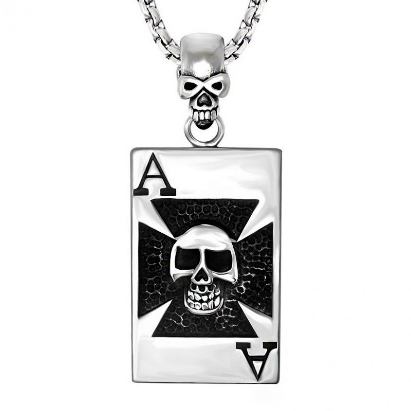 PE0034 BOBIJOO Jewelry Pendentif Croix Templier Tête de Mort Carte Chaîne