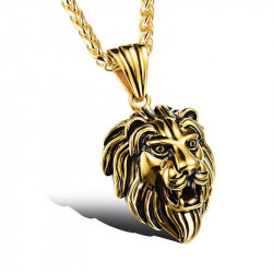 PE0040 BOBIJOO Jewelry Pendant Head of a Lion, Steel, Gold Patina Aged