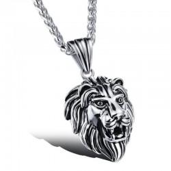 PE0041 BOBIJOO Jewelry Colgante de cabeza de león Acero inoxidable Plata Negro