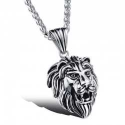 PE0041 BOBIJOO Jewelry Pendant Lion Head Stainless Steel Silver Patina Aged