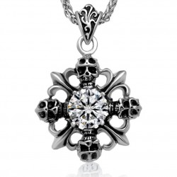 PE0045 BOBIJOO Jewelry Cross pendant Fleur-de-Lis Faux Diamond Biker