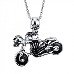 PE0047 BOBIJOO Jewelry Anhänger Motorrad Biker totenkopf Skelett