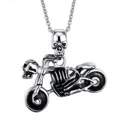 PE0047 BOBIJOO Jewelry Ciondolo Moto Biker cranio Scheletro