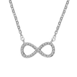 PEF0025 BOBIJOO Jewelry Necklace Pendant Infinity Rhinestone Steel Silver