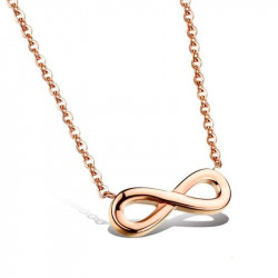 PEF0023 BOBIJOO Jewelry Necklace Pendant Infinity Necklace Golden Gold Pink